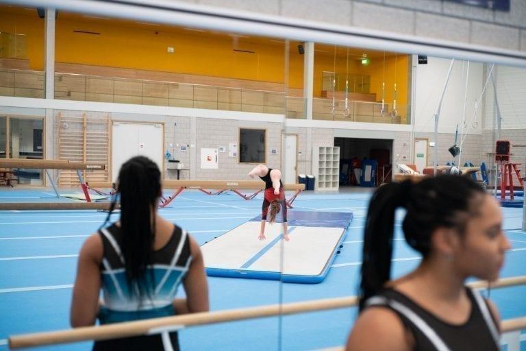 Gymnast tumbling on AirFloor