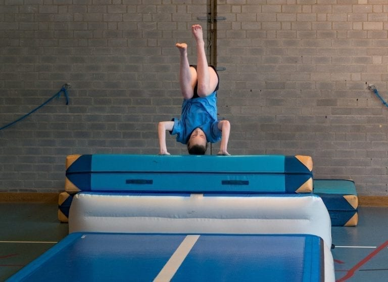 Summersault training with AirIncline AirTrack
